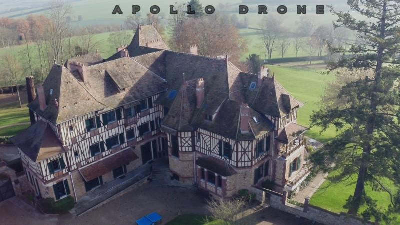 photo aérienne professionnelle du Château de Romainville facade à colombage
