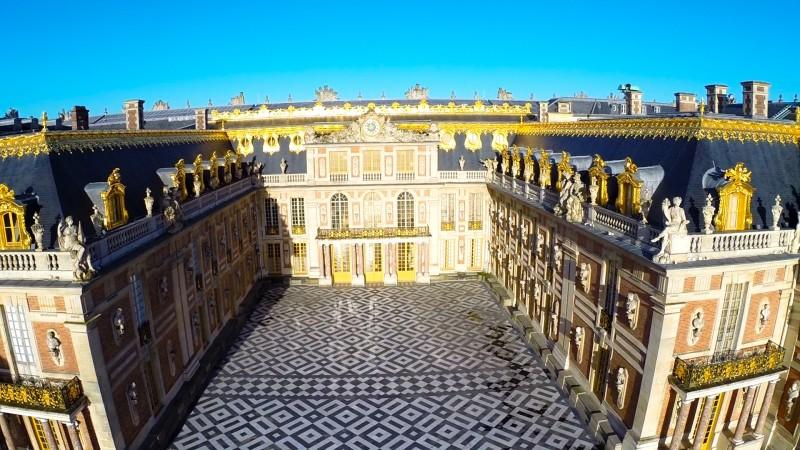 Versailles photo aérienne Entrée principale du château drone professionnel