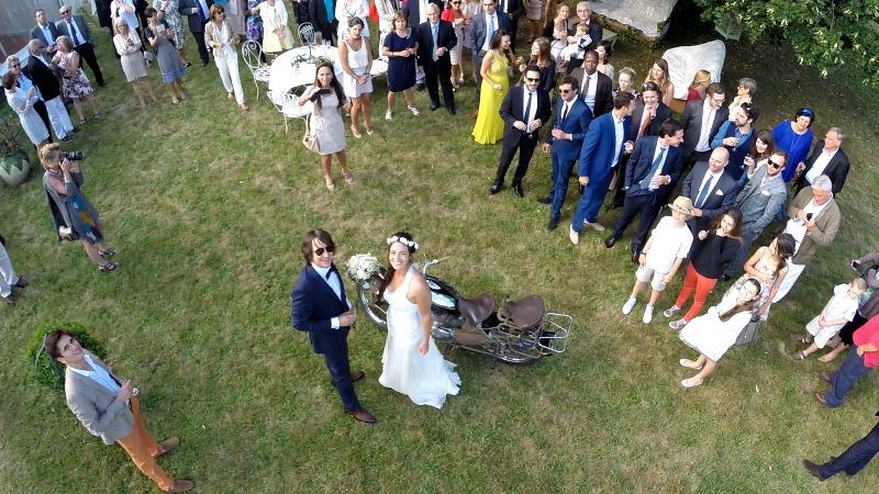 Vue aérienne en drone du mariage de Pascaline et Benjamin