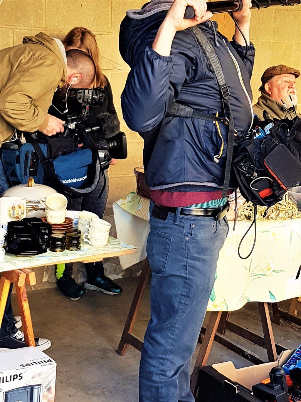 Tournage avec l'équipe de France Télévisions avant de réaliser les images en drone